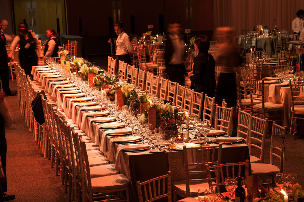 The VIP table of Airbus Gala Dinner was set out as a long rectangular table. Flowers were kept low to allow guests good networking opportunities.